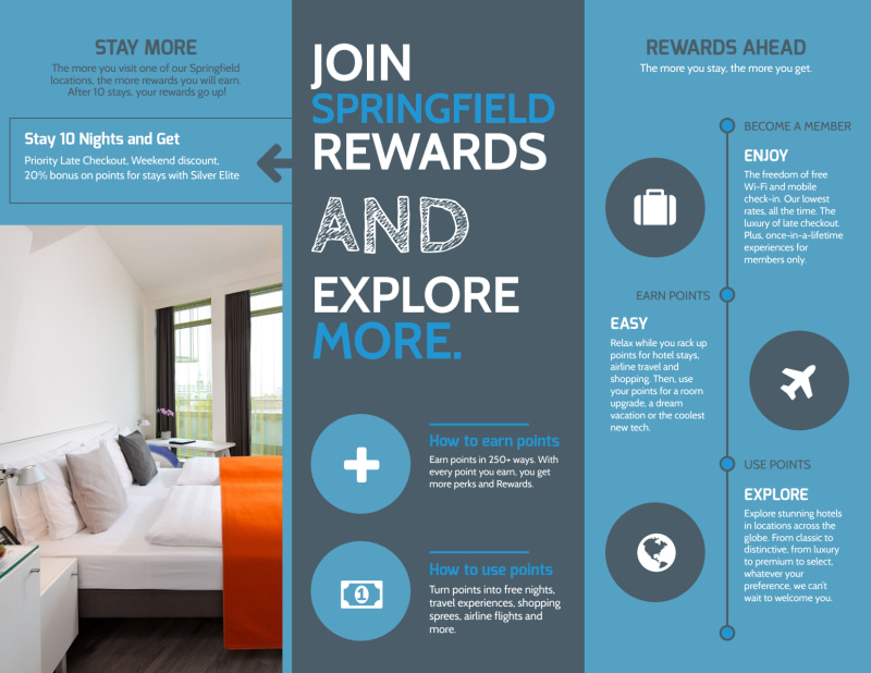 Hotel Rewards Program Tri-Fold Brochure Template Preview 3