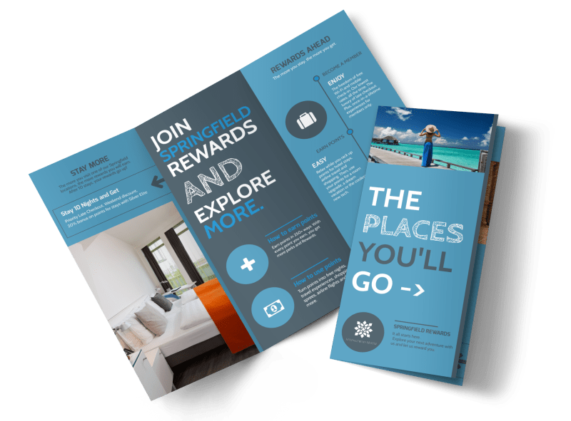 Hotel Rewards Program Tri-Fold Brochure Template Preview 1