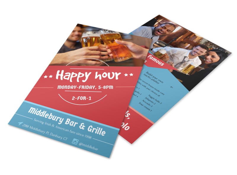 middlebury restaurant happy hour flyer template mycreativeshop