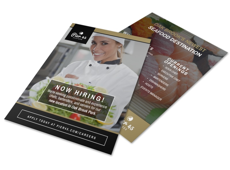 Pier 45 Restaurant Now Hiring Flyer Template  Now Hiring Flyer Template