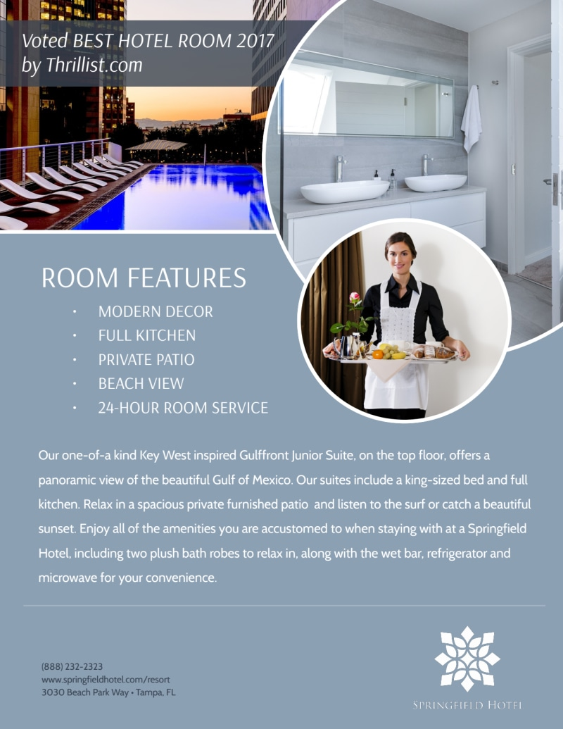 Hotel Springfield Room Details Flyer Template Preview 3