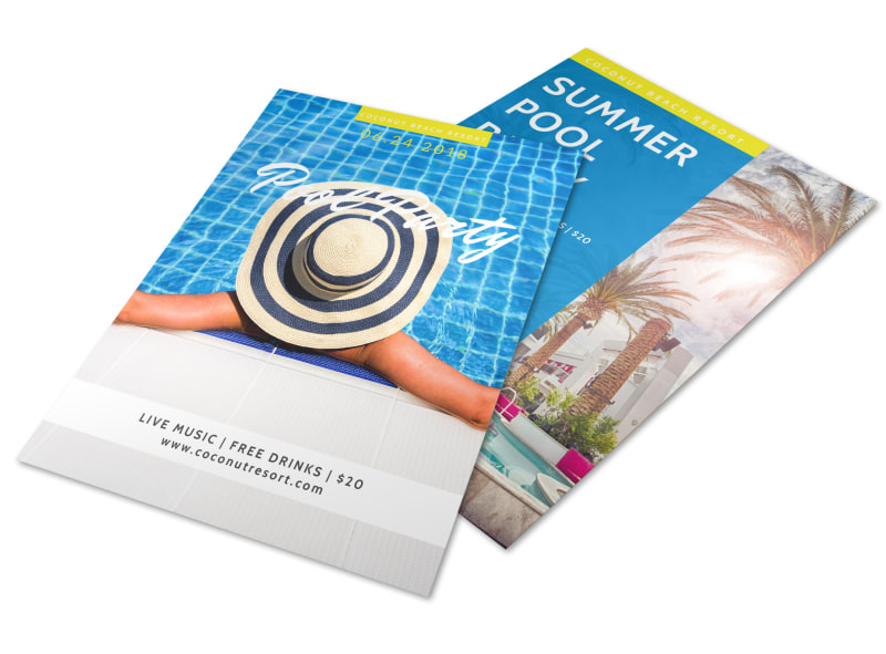 Hotel Summer Pool Party Flyer Template Preview 4