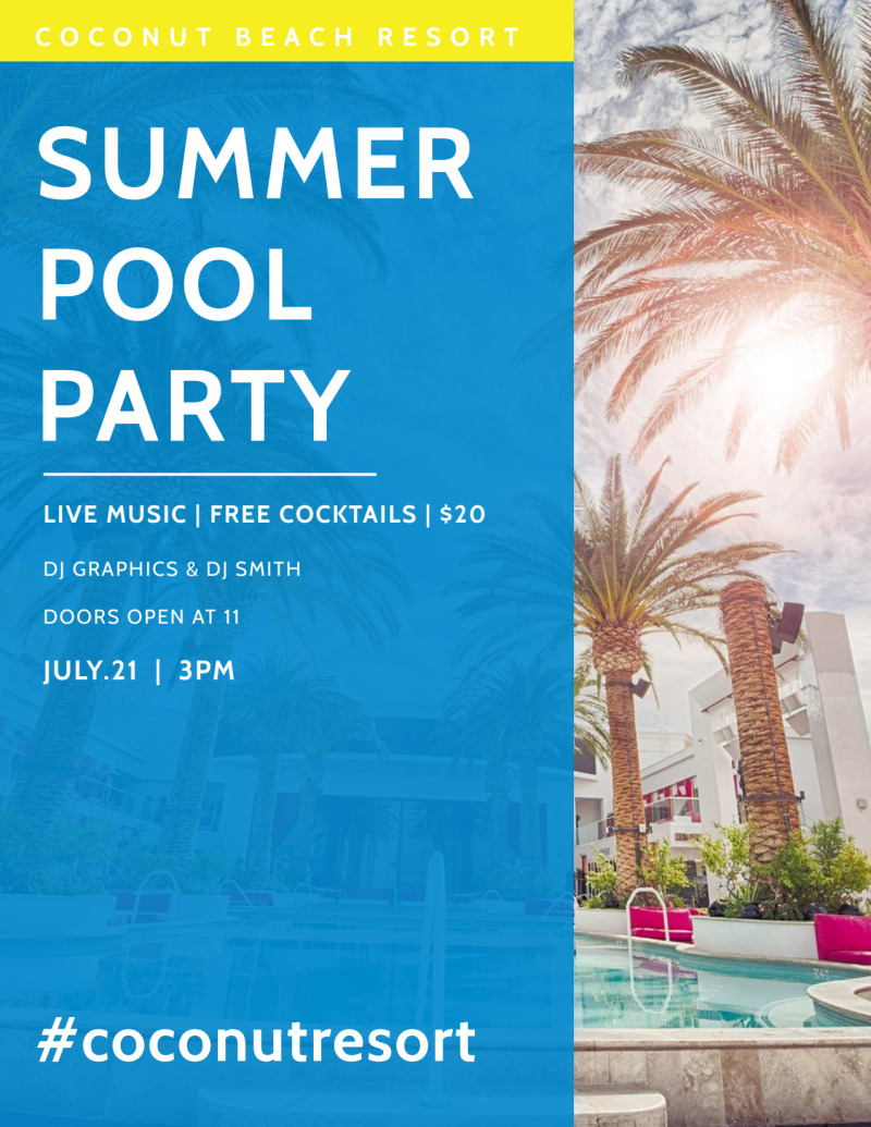 Hotel Summer Pool Party Flyer Template Preview 3