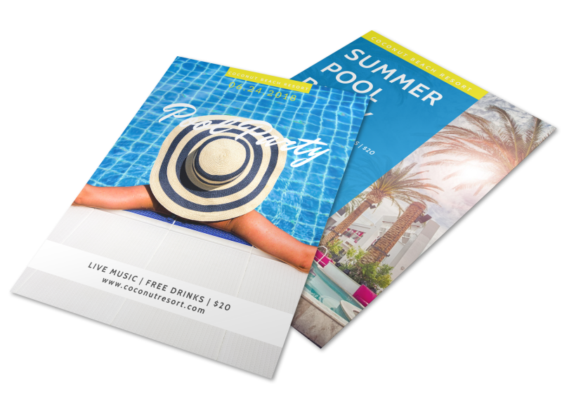 Hotel Summer Pool Party Flyer Template Preview 1