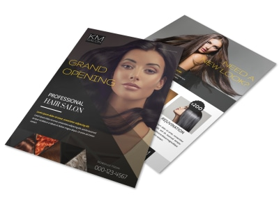 Professional Hair Salon Grand Opening Flyer Template preview