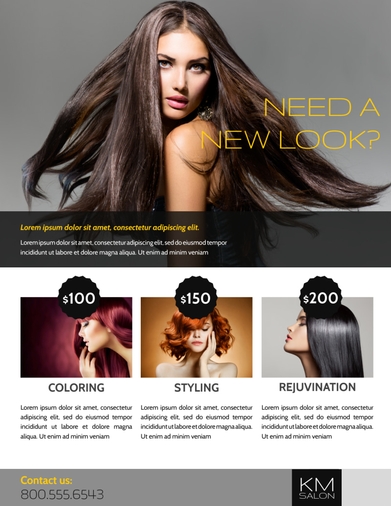 Professional Hair Salon Grand Opening Flyer Template Preview 3