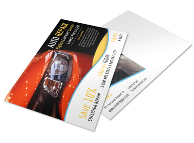 Creative Auto Repair Postcard Template preview