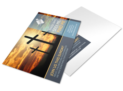 Find Me Church Postcard Template preview