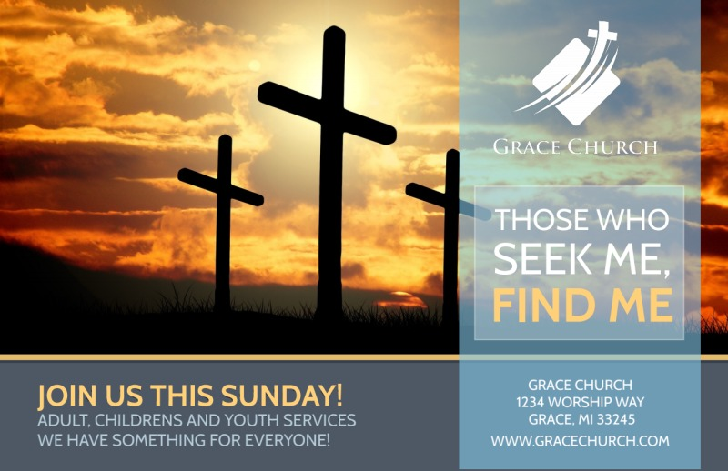 Find Me Church Postcard Template Preview 2