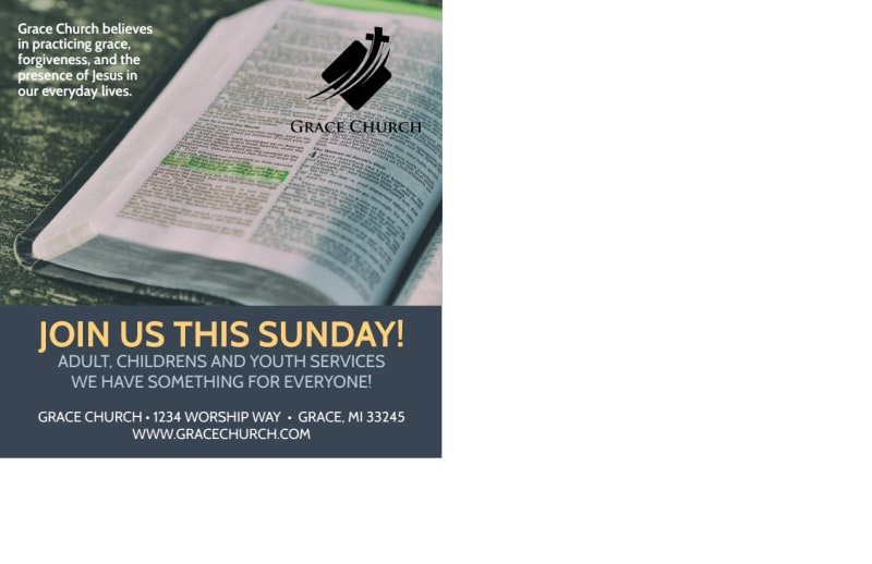 Find Me Church Postcard Template Preview 3