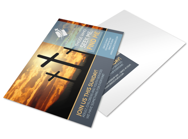 Find Me Church Postcard Template Preview 1