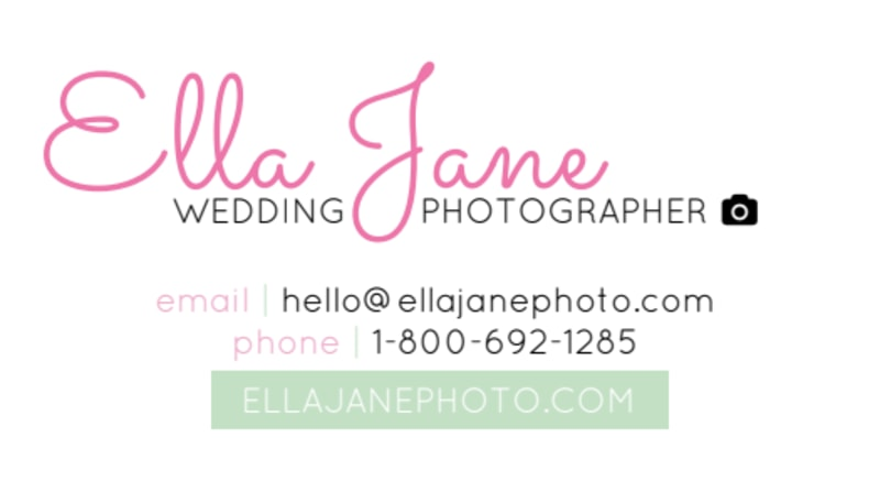 Ella Jane Wedding Photography Business Card Template Preview 3