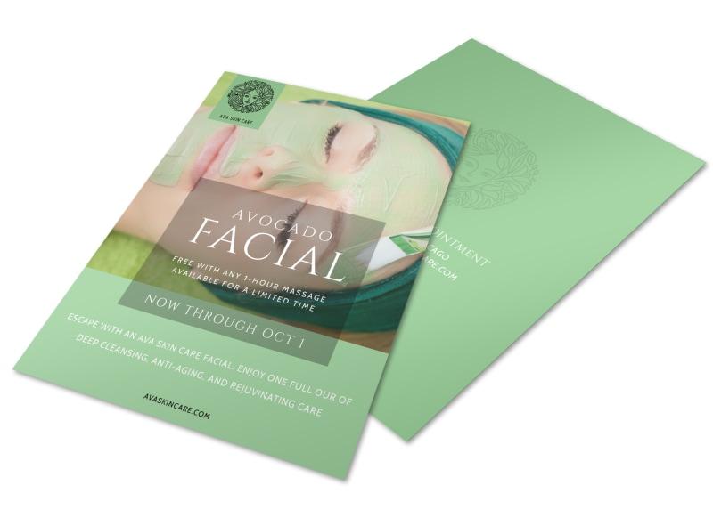 Avocado Facial Flyer Template