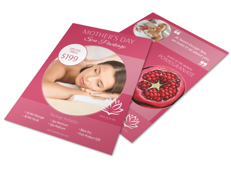 Mothers Day Spa Specials Flyer Template Preview 1