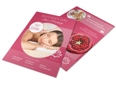 Mothers Day Spa Specials Flyer Template preview