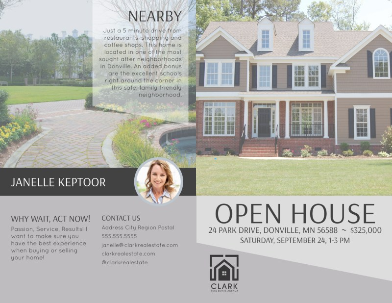 Park Drive Open House Bi-Fold Brochure Template Preview 2