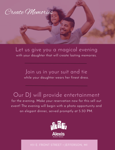Father Daughter Dance Flyer Template Preview 2