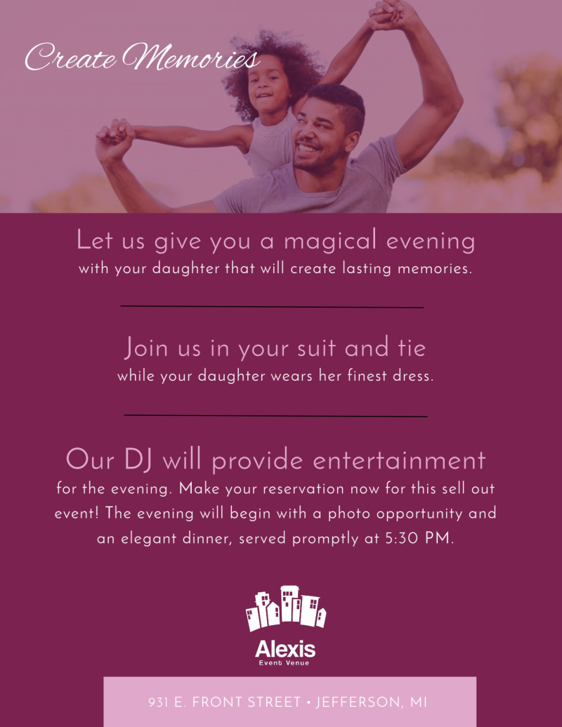 Father Daughter Dance Flyer Template Preview 3