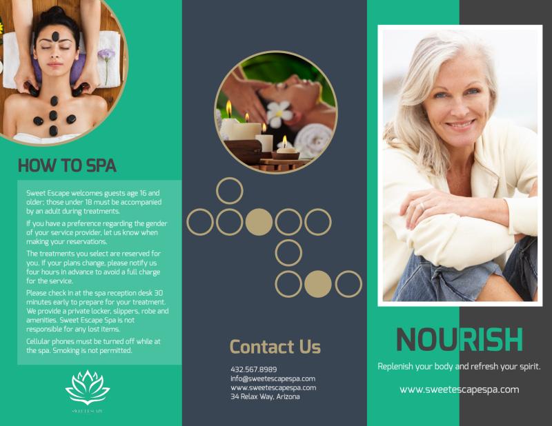 Nourish Spa Services Tri-Fold Brochure Template Preview 2