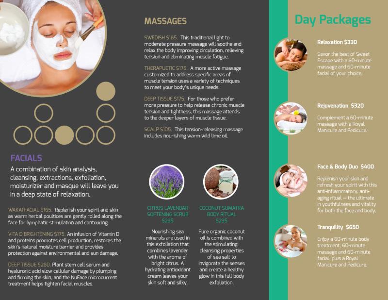 Nourish Spa Services Tri-Fold Brochure Template Preview 3