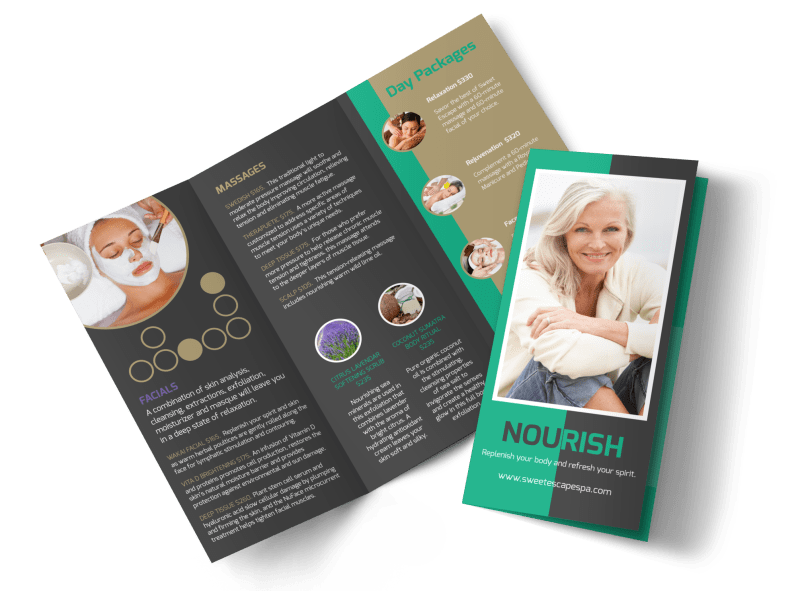 Nourish Spa Services Tri-Fold Brochure Template Preview 1