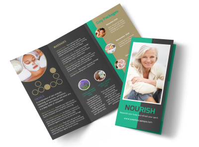 Nourish Spa Services Tri-Fold Brochure Template preview