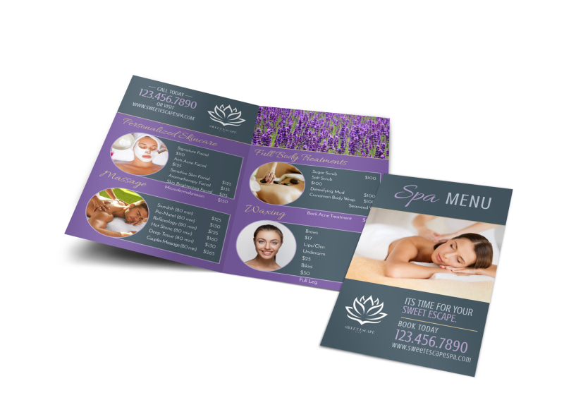 Spa Menu Bi-Fold Brochure Template Preview 4