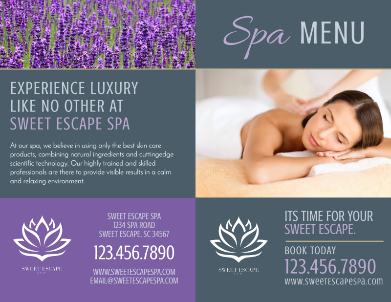 Spa Menu Bi-Fold Brochure Template Preview 2