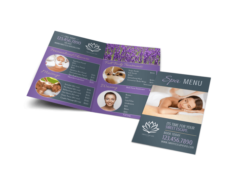 Spa Menu Bi-Fold Brochure Template Preview 1
