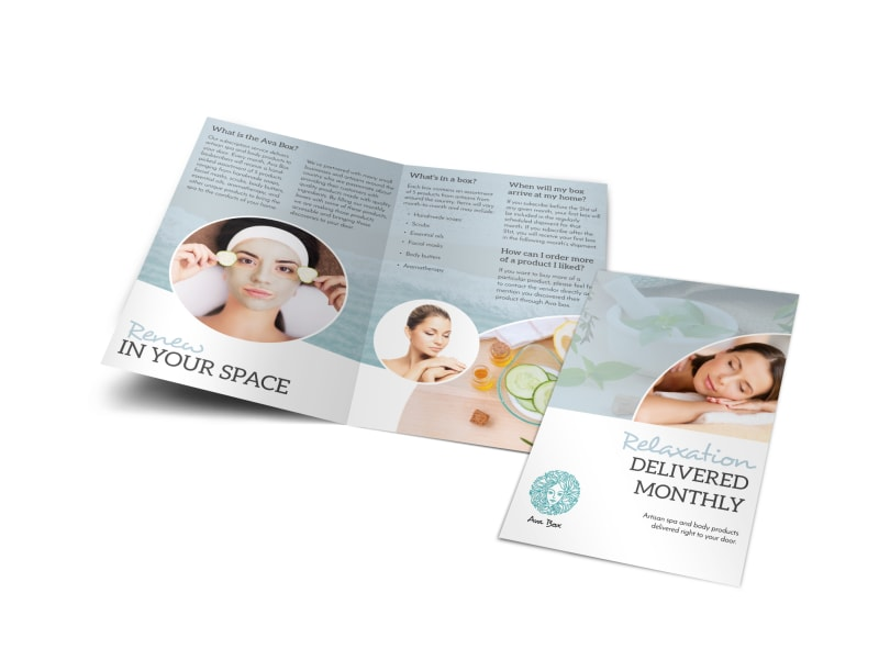 Spa Subscription Box BiFold Brochure Template  Mycreativeshop