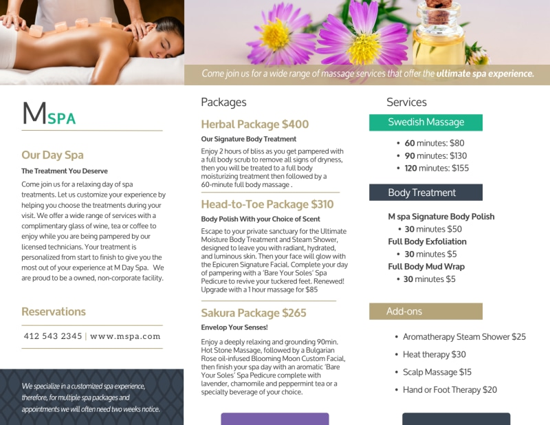 Spa Package Details Tri-Fold Brochure Template Preview 3