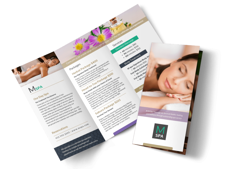 Spa Package Details Tri-Fold Brochure Template Preview 1