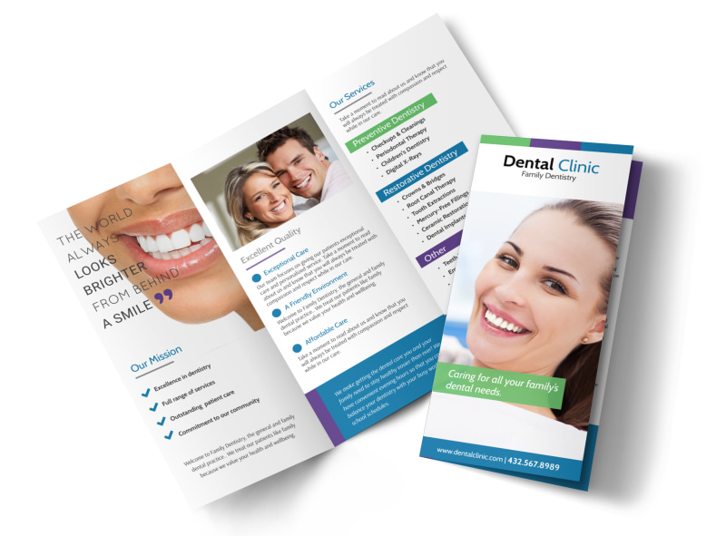 Family Dentistry About Us Tri-Fold Brochure Template