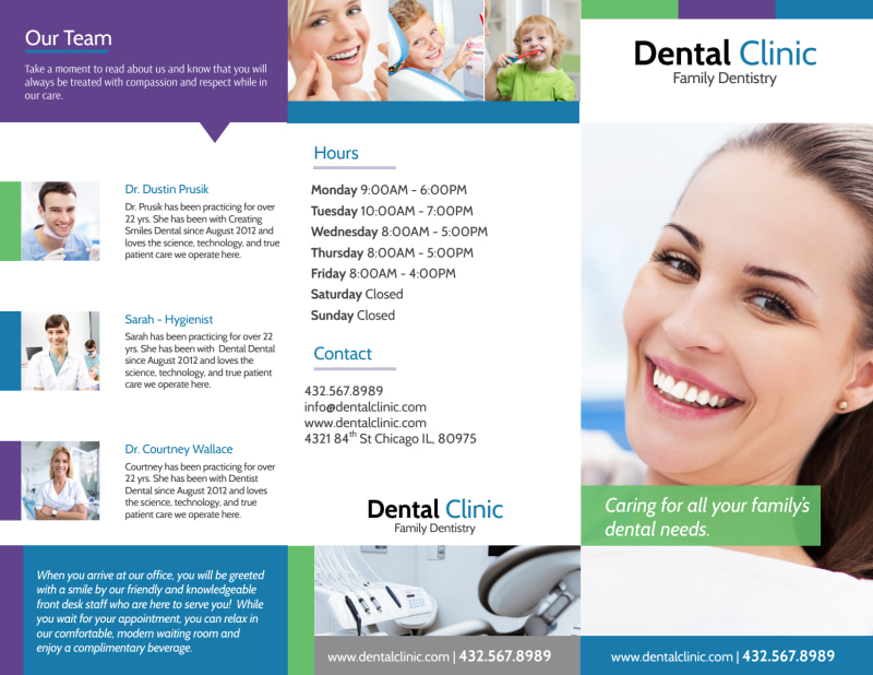 Family Dentistry About Us Tri-Fold Brochure Template Preview 2