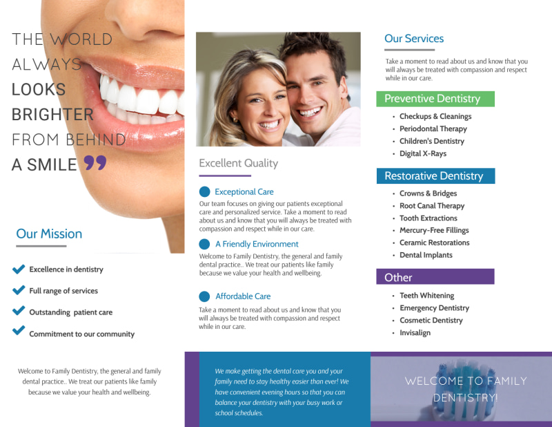 Family Dentistry About Us Tri-Fold Brochure Template Preview 3