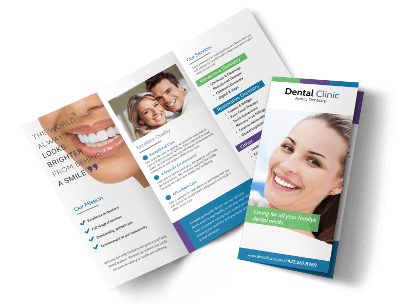 Family Dentistry About Us Tri-Fold Brochure Template Preview 1