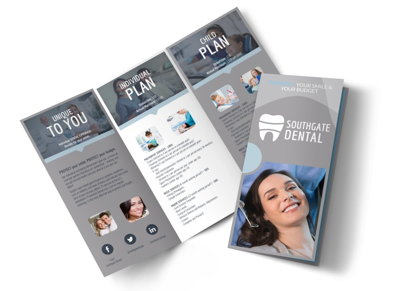 Dental Coverage Tri-Fold Brochure Template Preview 4