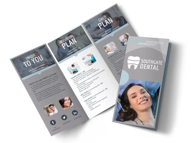 Dental Coverage Tri-Fold Brochure Template preview