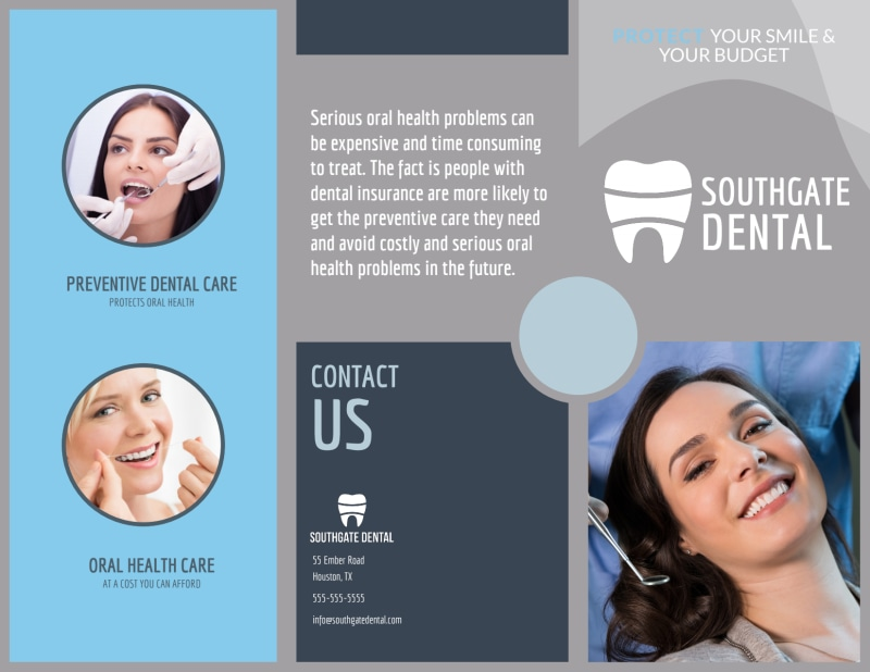 Dental Coverage Tri-Fold Brochure Template Preview 2