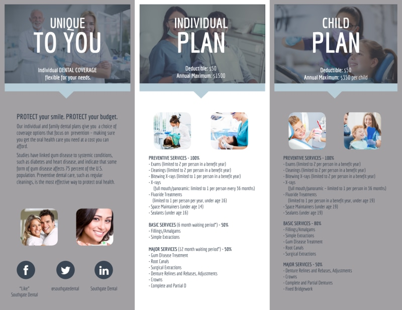 Dental Coverage Tri-Fold Brochure Template Preview 3
