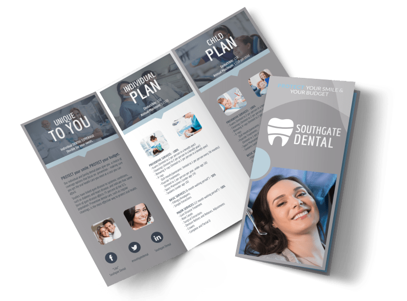 Dental Coverage Tri-Fold Brochure Template Preview 1