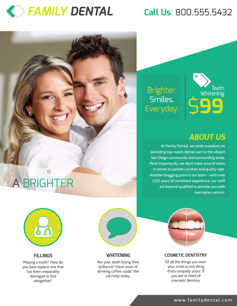 Brighter Smile Dental Teeth Whitening Flyer Template Preview 2