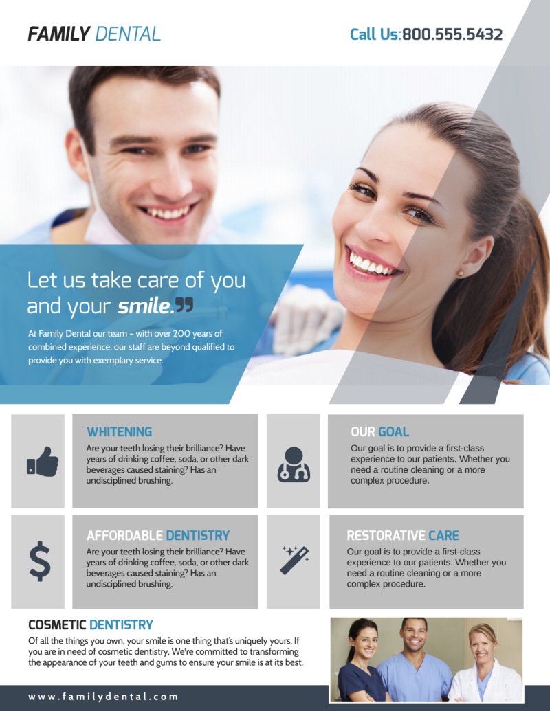 Family Dental Services Flyer Template Preview 2