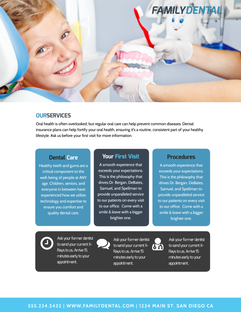 Family Dental Services Flyer Template Preview 3