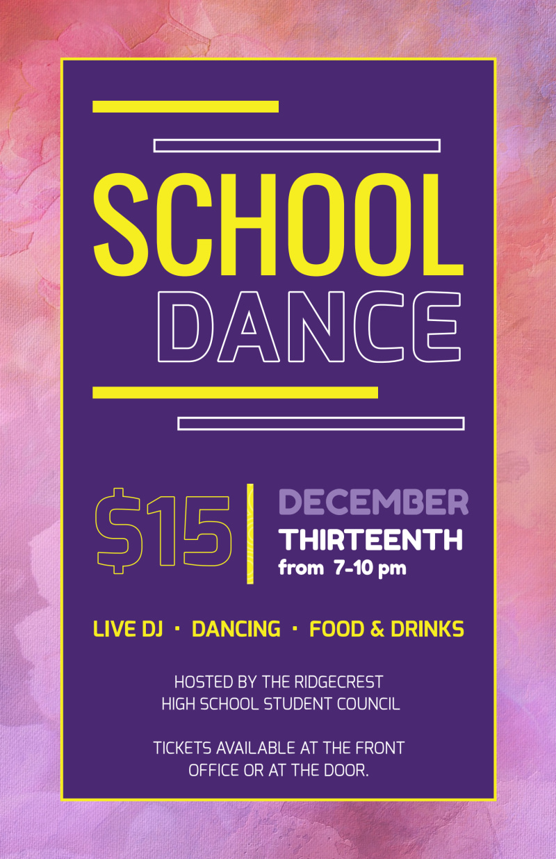 Playful School Dance Poster Template Preview 2