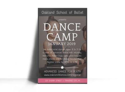 School Dance Camp Poster Template preview