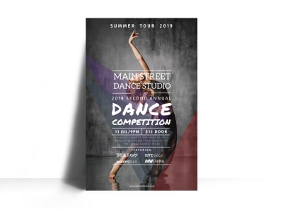 Main Street Dance Competition Poster Template preview