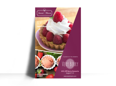 Very Berry Bakery Sale Poster Template preview