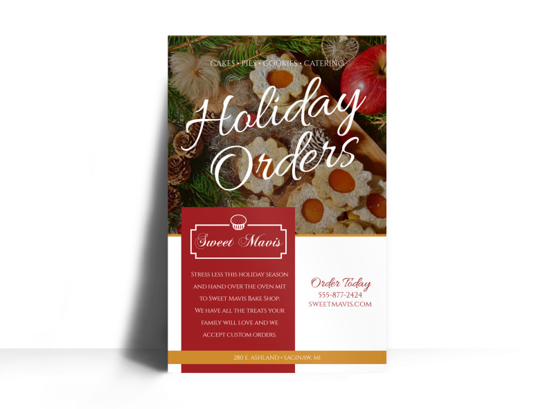 Holiday Orders Bakery Poster Template