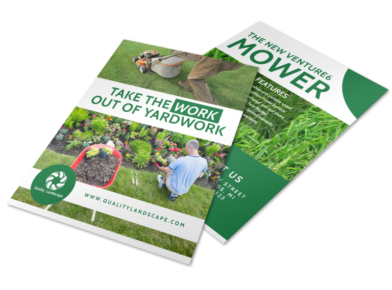 Lawn Mower About Us Flyer Template Preview 1